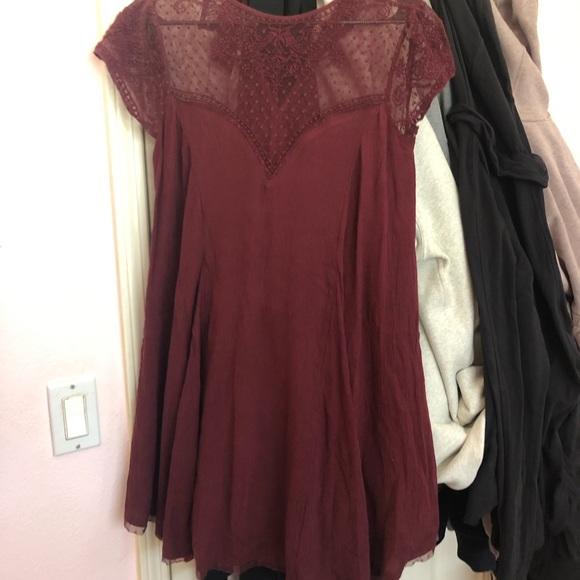 Kimchi Blue Dresses & Skirts - Maroon mesh top formal dress
